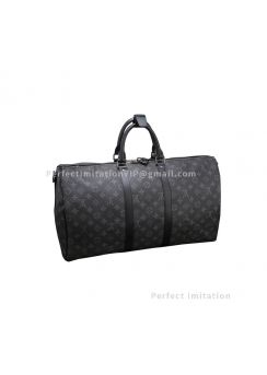 Louis Vuitton Monogram Eclipse Canvas Keepall 50 Bandouliere M40603