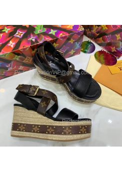 Louis Vuitton Boundary Wedge Sandal Black 201851